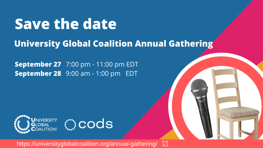"""Blue background with white text. """"Save the Date, University Global Coalition Annual Gathering, September 27 7-11 pm EDT and September 28 9am-1pm EDT"""""""